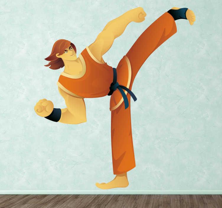 TenStickers. Naklejka dekoracyjna karateka. Naklejka na ścianę z zawodnikinie karate, który unosi jedną nogę do góry. Naklejka dekoracyjna odealna do aranżacji wnętrz szkół karate.