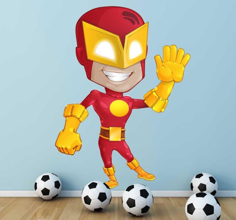 TenVinilo. Vinilo infantil superhéroe traje rojo. Divertida pegatina estilo cómic de un hombre con poderes especiales y antifaz. Vinilos decorativos infantiles con una representación de un superhéroe.