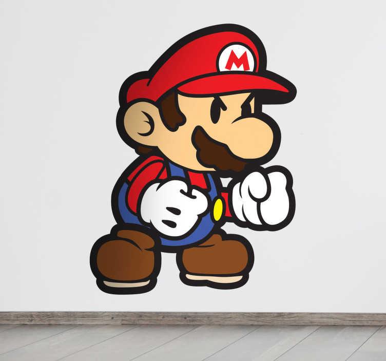 TenStickers. Naklejka na ścianę rozzłoszczony Supermario. Naklejka dekoracyjna, która przedstawia rozzłoszczonego Mario ze słynnej gry komputerowej. Naklejka na każdą gładką powierzchnię!