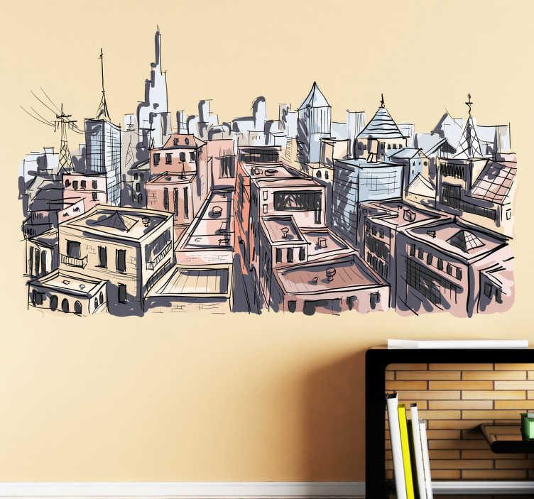 TenStickers. Naklejka miasto w akwareli. Urokliwa naklejka przedstawiająca widok na miasto imitujący rysunek wykonany akwarelą.