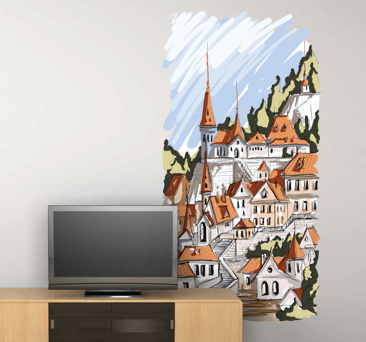 TenStickers. Watercolour Alpine Village Sticker. Illustration sticker of a mountainside village in Central Europe. Original art vinyl to decorate your home.