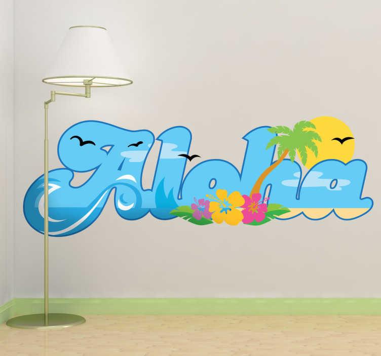 TenStickers. Sticker woning aloha. Heet uw gasten op een Hawaiiaanse manier welkom met behulp van deze leuke kleurrijke muursticker! Fleur uw woning op met deze mooie wandsticker!