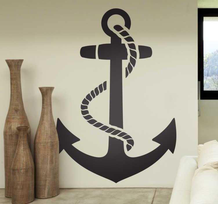 TenStickers. 船锚墙贴. 从我们的海墙贴纸收集船锚的装饰乙烯基贴花。完美的墙面装饰,带有一丝现代感。这款单色墙贴花将为您的家居提供宜人的环境和时尚的氛围。