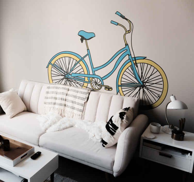 TenStickers. Sticker blauwe fiets. Een prachtige muursticker van een tekening van een blauwe fiets. Decoreer uw huis op een originele manier met behulp van deze wandsticker.