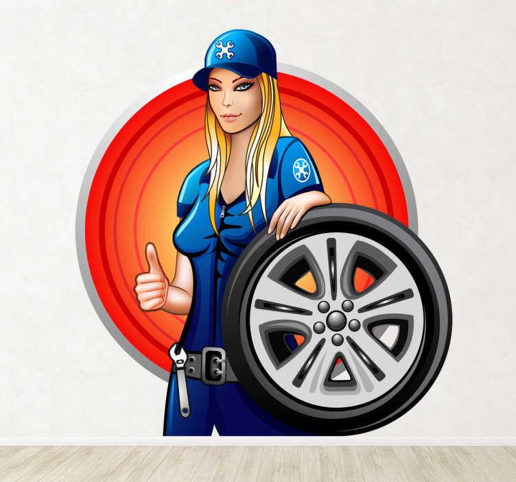 TenStickers. Sticker vrouwlijke garagist. Een leuke muursticker van een vrouwlijke garagist met een autowiel vast. Leuk voor de decoratie van uw garage.