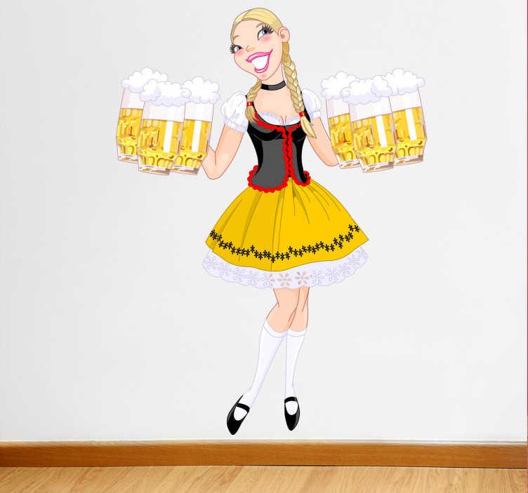 TenStickers. Sticker bar serveuse oktoberfest. Adhésif mural représentant une serveuse allemande et sexy apportant 6 pintes de bière pleines.Utilisez ce stickers pour décorer votre bar ou bistrot.