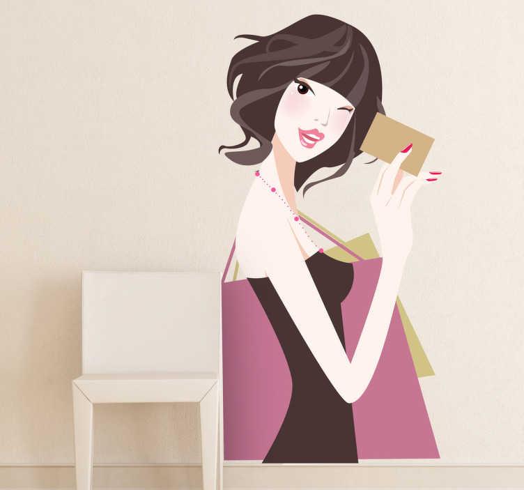 TenStickers. Sticker shoppen dame credit card. Muursticker van een shoppende jonge dame met in de ene hand haar winkeltassen en in de andere hand haar credit card.