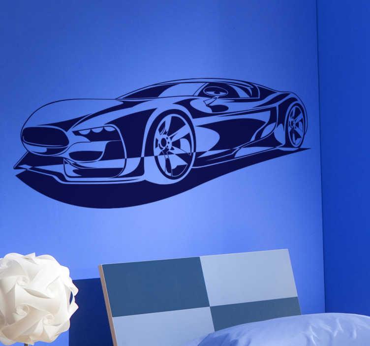 TenStickers. Sticker decorativo auto sportiva. Spettacolare adesivo murale che raffigura un bolide pronto a partire. Per gli appassionati del mondo dei motori.