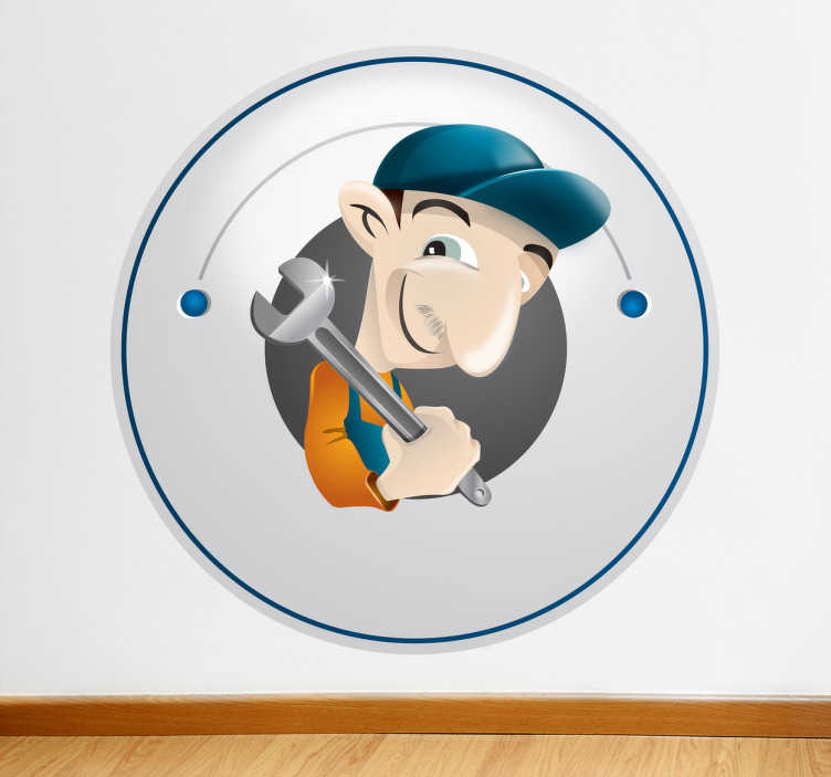 TenStickers. Sticker decorativo illustrazione idraulico. Adesivo decorativo che raffigura un professionista delle tubature armato di chiave inglese. Una decorazione ideale per la fiancata del furgone di un idraulico o per la vetrina di una ferramenta.