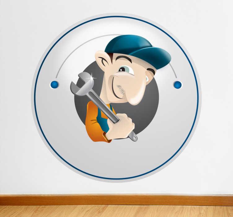 TenStickers. Sticker dessin plombier. Adhésif mural illustrant un plombier armé de sa clef anglaise.