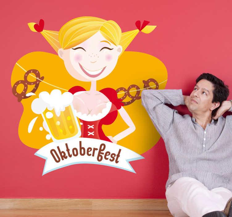 TenStickers. Oktoberfest Mädel Aufkleber. Verzieren Sie Ihre Wand mit diesem originellen Wandtattoo Oktoberfest Mädel.