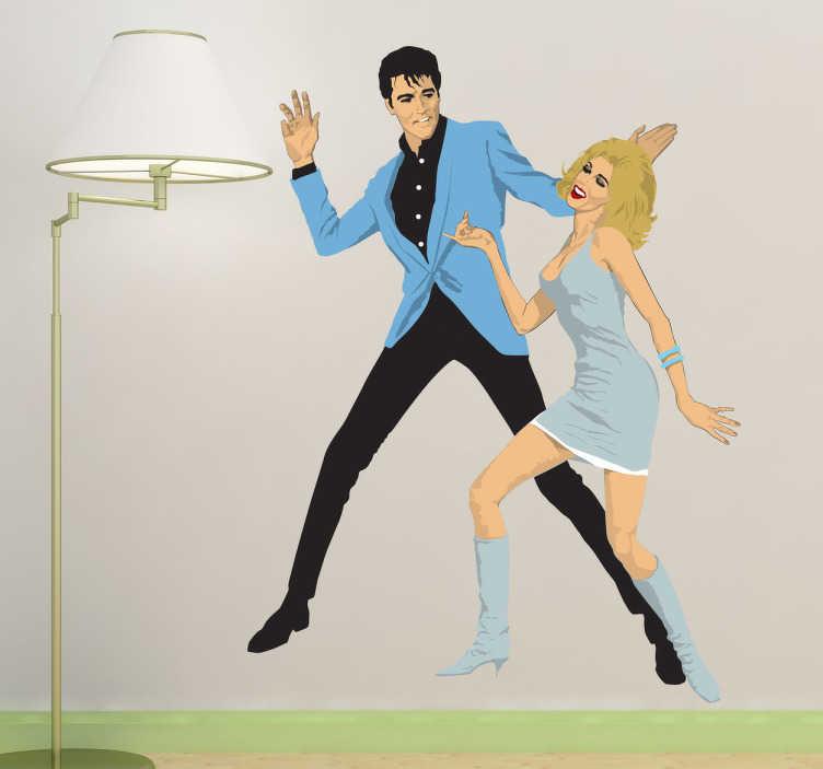 TenStickers. Autocollant mural Presley Sinatra. Stickers mural illustrant le king du rock'n roll Elvis et la Nancy Sinatra dansant..Sélectionnez les dimensions et la couleur de votre choix.Idée déco originale et simple pour votre intérieur.