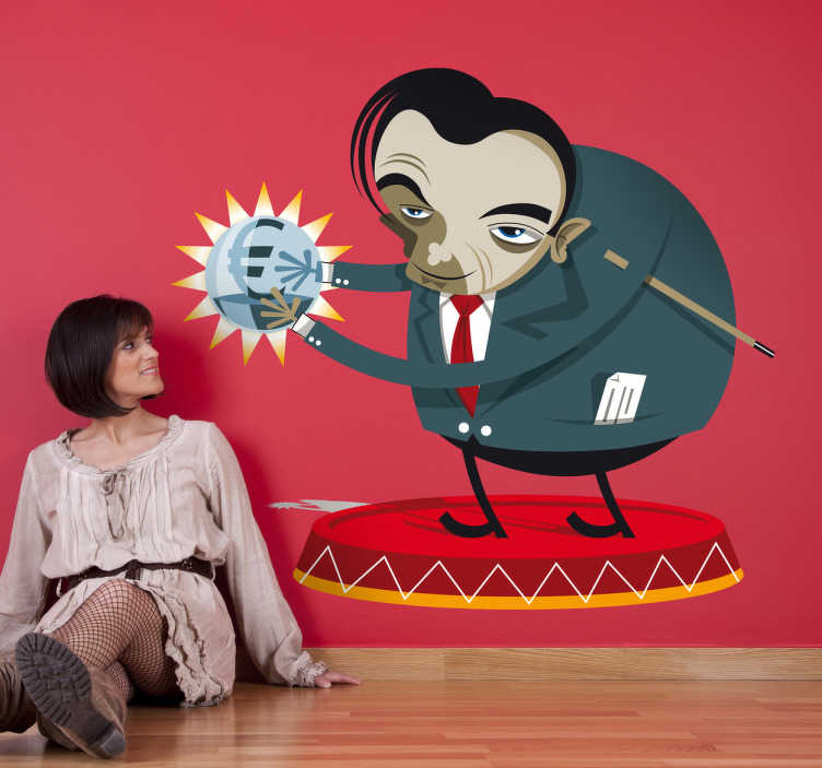 TenStickers. Evil Genius Wall Decal. A quirky wall sticker showing an evil genius holding a crystal ball of money. An insatiable capitalist or a genius entrepreneur?