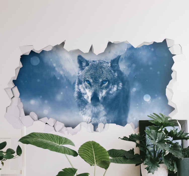 Muurdecoratie Stickers Wolf In De Sneeuw Tenstickers