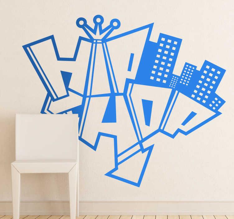 TenStickers. Hip Hop Graffiti Aufkleber. Hip Hop wurde in den USA in den 70er Jahren geboren. Dieses Wandtattoo ist ideal für alle Hip Hop Fans!