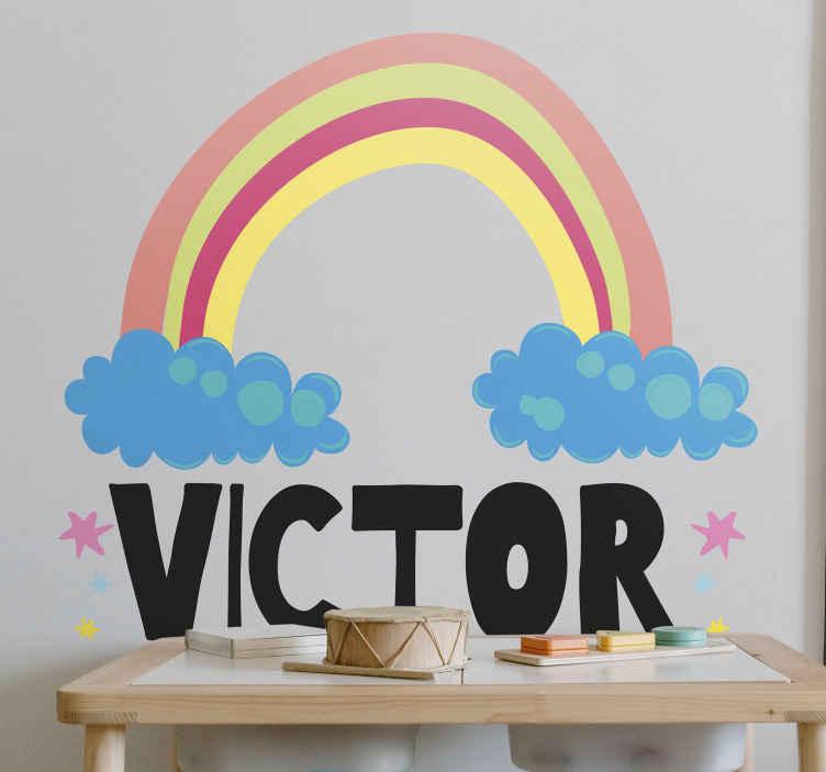 TenVinilo. Vinilo con nombre infantil de arcoíris. Cree una atmósfera increíble en el lugar de su hijo con nuestro vinilo con nombre infantil de nubes y arco iris de fantasía ¡Envío exprés!