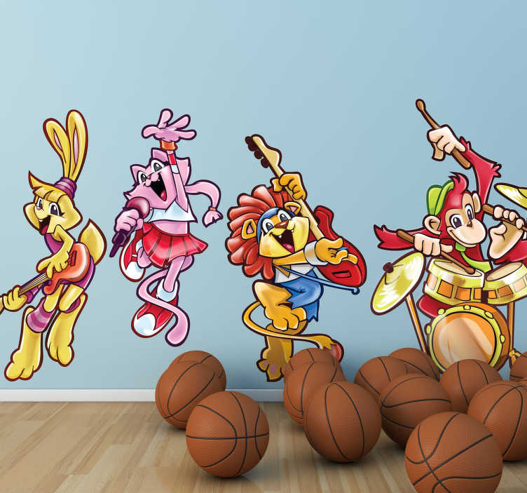 TenStickers. Naklejka dekoracyjna muzyczne zwierzęta. Naklejka dekoracyjna przedstawiająca cztery roztańczone zwierzątka: śpiewającego królika, gitarzystę lwa, żółtego królika oraz małpę perkusistę.