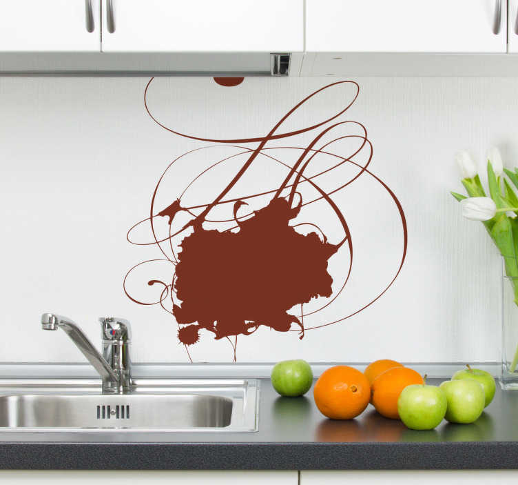 TenStickers. Chocolate Spot Kitchen Sticker. Kitchen Stickers - Stain abstract design. Ideal for adding a touch of colour to your kitchen. Decorate your kitchen appliances, walls and cupboards.