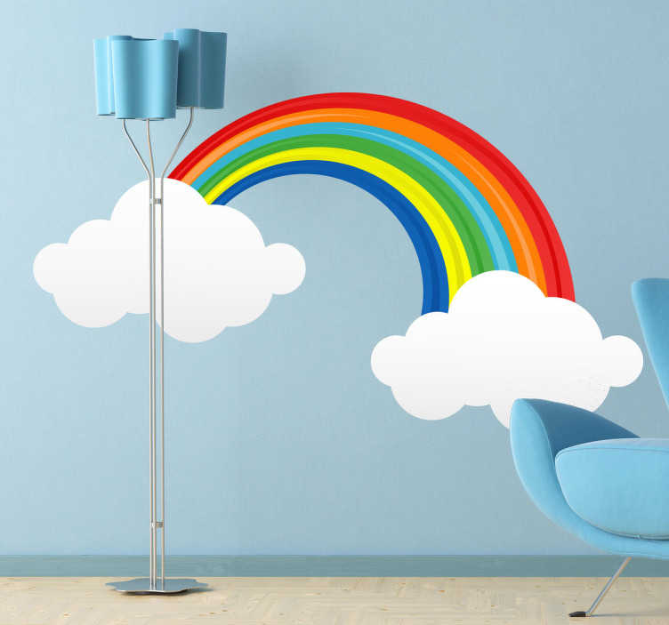 TenStickers. Regnbue skyer wallsticker. Hvis du er træt af at dine børns værelser er kedelige og farveløse? Så kan denne regnbue vægdekoration være svaret! Lav en munter atmosfære