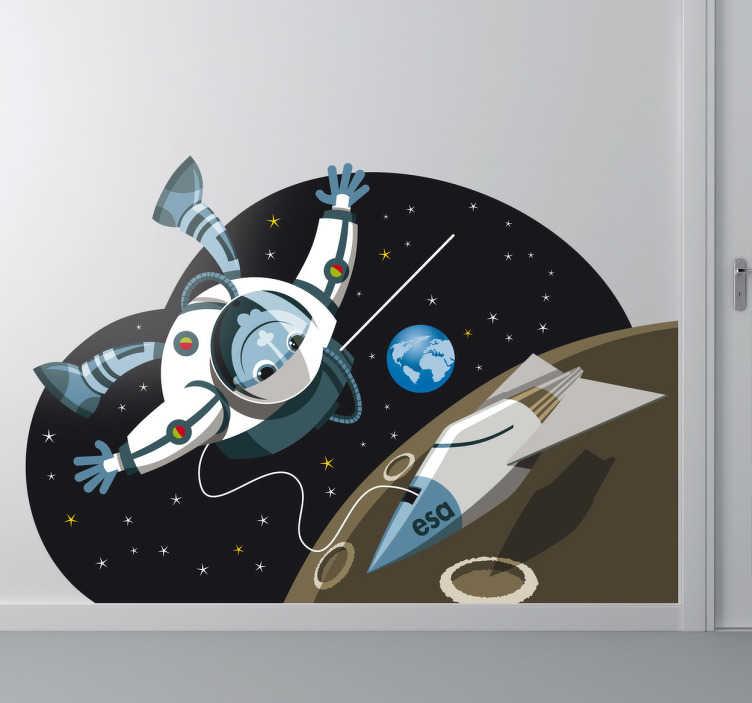 TenStickers. Sticker enfant astronaute planète. Stickers enfant illustrant un astronaute dans son voyage dans l'espace pour la décoration de la chambre d'enfant ou pour la personnalisation d'affaires personnelles.