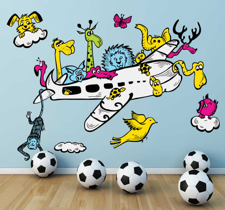 TenStickers. Animal Airline Wall Sticker. Kids Wall Stickers - A modern day Noah´s Ark. Illustration of an aircraft filled with various animals. Colurful and playful design.
