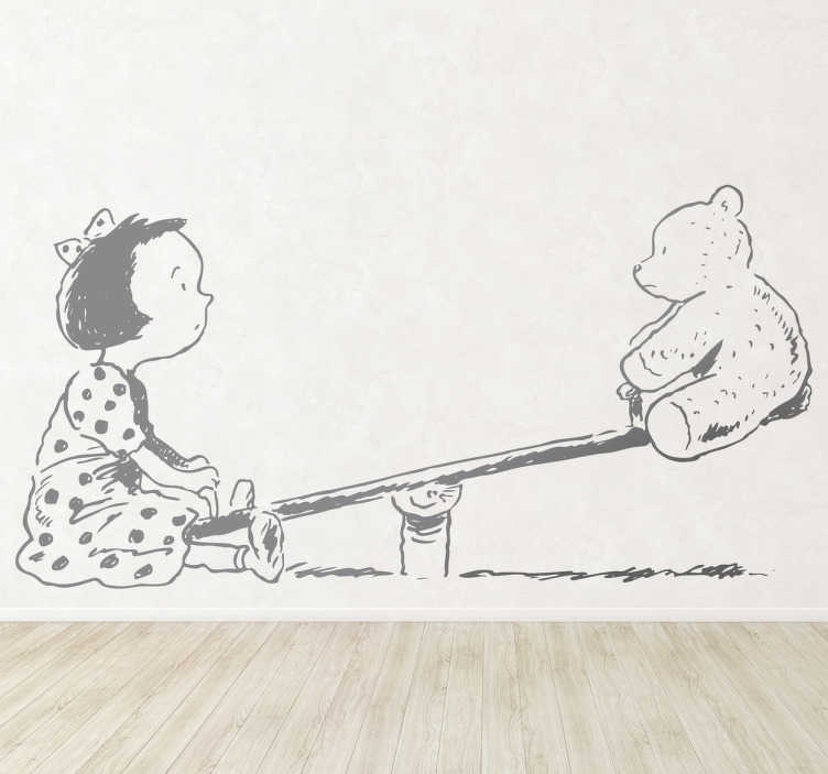 TenVinilo. Vinilo infantil balancín niña peluche. Ilustración adhesiva de una niña con traje de topos jugando con su osito