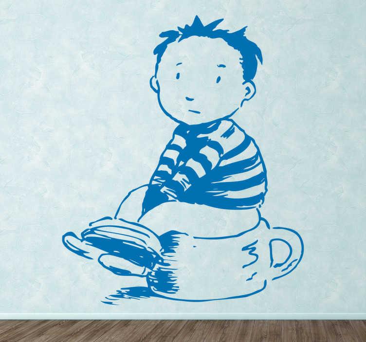 TenStickers. 小男孩和便盆的孩子贴纸. 一个小孩坐在便盆上的单色贴花。梦幻般的儿童乙烯基贴纸,可在家里营造出有趣的氛围。