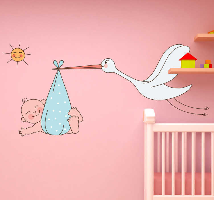TenStickers. Stork Carrying Baby Kids Sticker. Children come from Paris! A great bird wall sticker illustrating a stork carrying a baby. Brilliant nursery decal for the little ones.