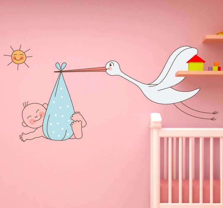 TenStickers. Naklejka dla dzieci noworodek i bocian. Ładna naklejka dekoracyjna idealna do pokoju noworodka. Obrazek przedstawia frunącego bociana z niemowlakiem.