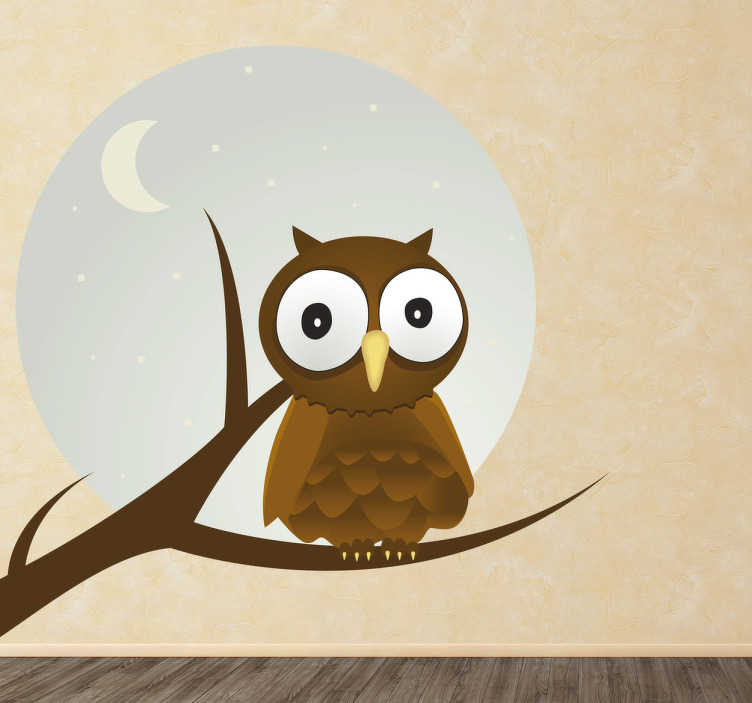 TenStickers. Owl and Moon Kids Sticker. A small owl with big eyes during a full moon! This design is from our exclusive owl wall stickers is deal for your child's bedroom.