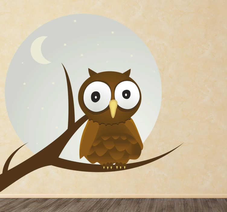 TenStickers. 猫头鹰和月亮孩子贴纸. 在满月期间,一只小猫头鹰,大眼睛在树枝上休息!这个设计来自我们独有的猫头鹰墙贴,为您孩子的卧室增添了一丝独创性;易于涂抹,去除后不留残渣。
