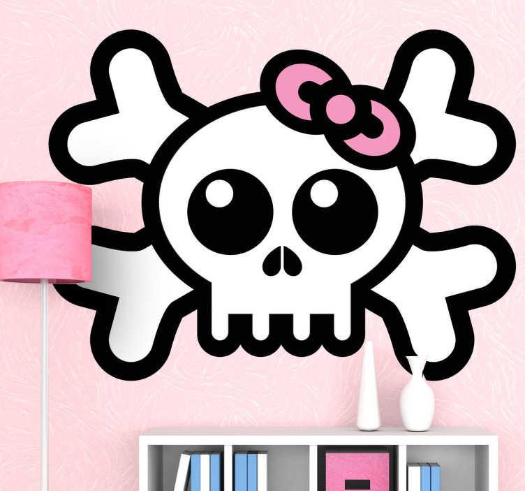 TenVinilo. Vinilo infantil calavera con lazo. La típica representación ena adhesivo de un esqueleto en plan pirata pero con un mono lazo rosa en el cráneo.