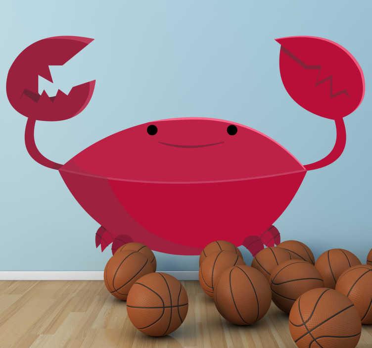 TenVinilo. Vinilo infantil cangrejo sonriente. Dibujo adhesivo de un divertido crustáceo de tonos rojos con sus amenazantes pinzas.