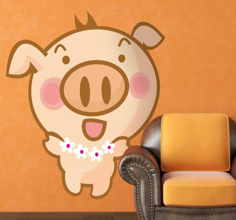 TenStickers. Sticker kinderen hawaiaans varken. Muursticker van een varkentje met een bloemenketting om.  Deze wandsticker is een leuk idee voor de decoratie van de slaapkamer van uw kinderen.