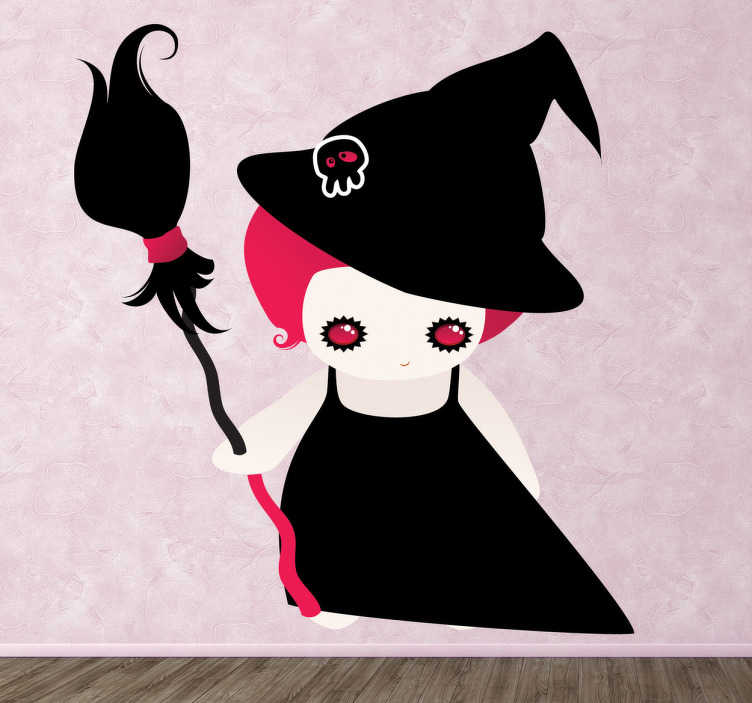 TenStickers. Adesivo bambini bimba fattucchiera. Sticker decorativo che raffigura una giovane streghetta dai capelli color ciclamino e munita di scopa magica.