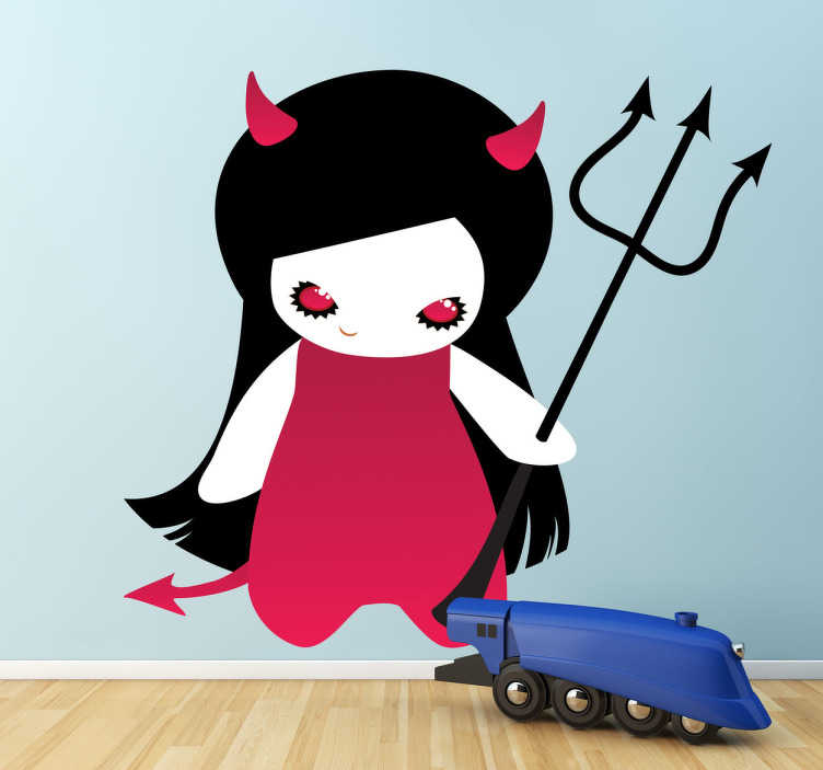 TenStickers. Gothic Demon Kids Sticker. A halloween wall sticker illustrating a gothic demon with pink horns and trident. Great kids decal for a halloween theme party.