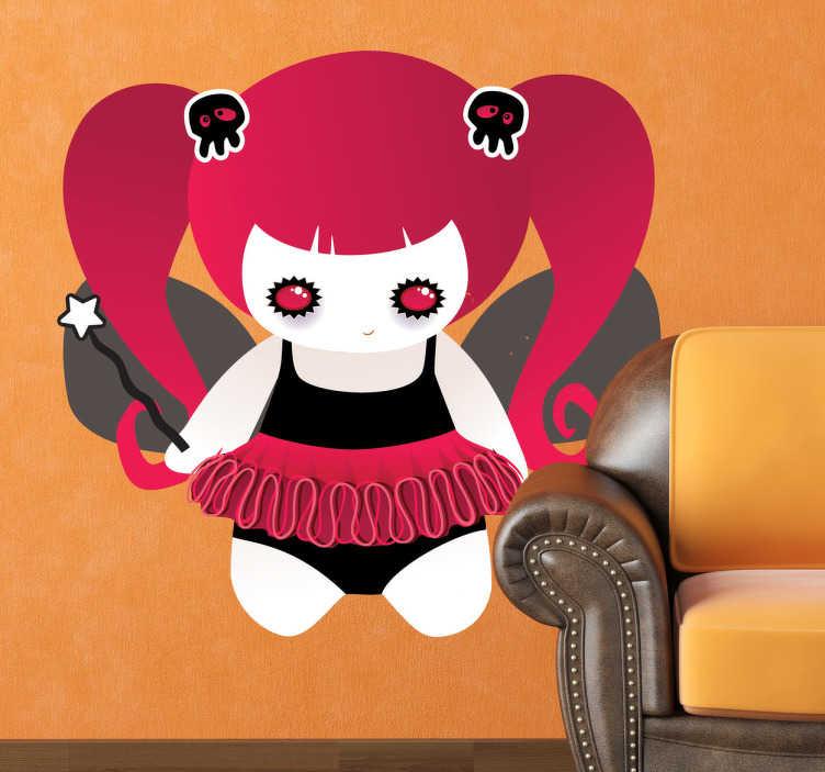 TenStickers. Sticker enfant fée gothique. Stickers décoratif représentant une fée gothique : coiffe en forme de tête de mort.. yeux rouges et maquillés en noir...Super idée déco pour la chambre de petite fille et autres espaces de jeu.