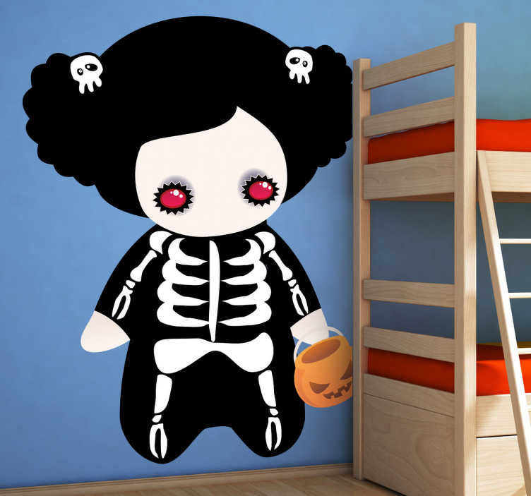 TenStickers. Skeleton Costume Girl Kids Sticker. A superb halloween wall sticker for the little ones. A great skeleton decal to create a fun atmosphere in your child's halloween party.