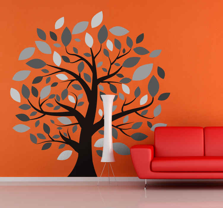 TenVinilo. Vinilo decorativo árbol de muchas ramas. Vinilo decorativo para pared con el dibujo de un árbol en colores grises para decorar tu casa. Fácil aplicación y sin burbujas.