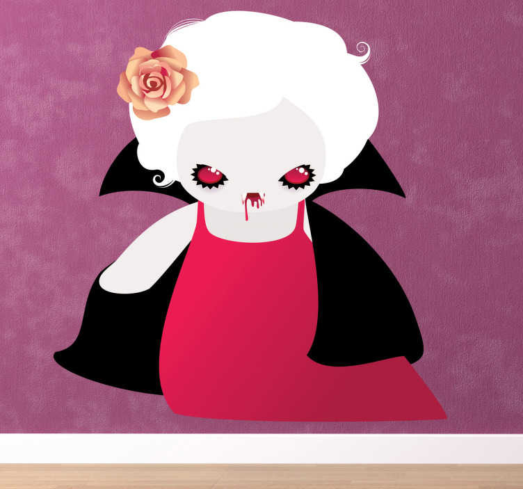 TenStickers. Sticker enfant vampire assoifé. Stickers pour enfant représentant une un vampire gothique aux cheveux blancs. Super idée déco pour la chambre d'enfant et autres espaces de jeu.
