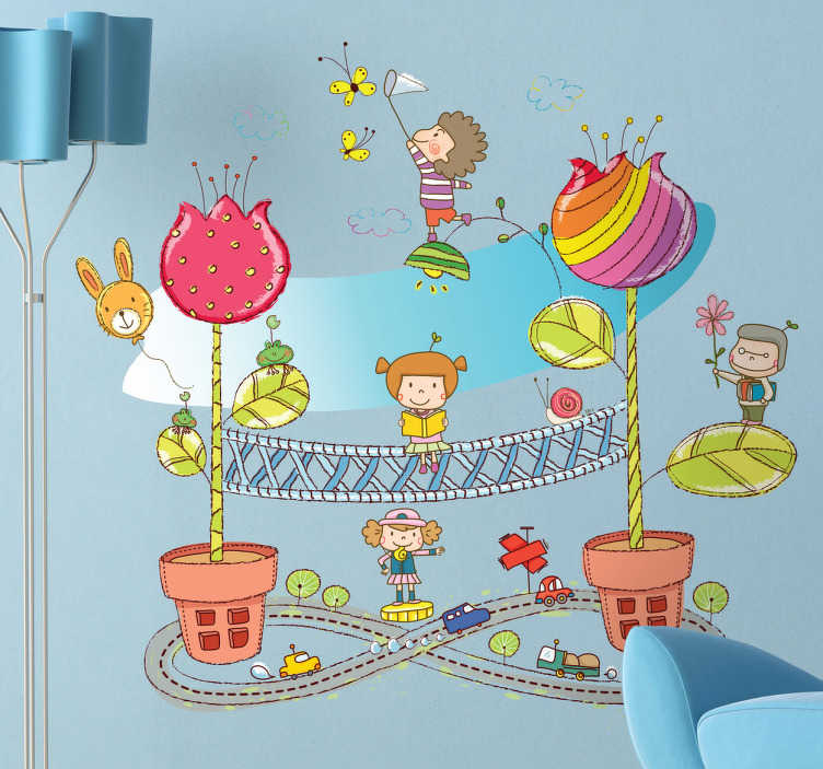TenStickers. Kids Flower Pot City Wall Sticker. Kids Wall Stickers - Playful and fun illustration of a small fantasy city. Colourful and vibrant feature for children. Available in various sizes.