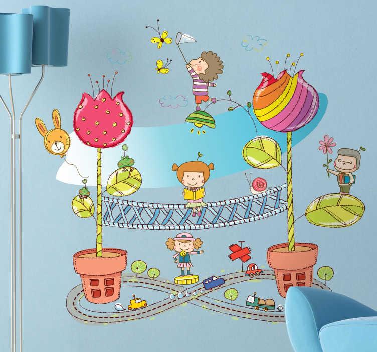 TenStickers. Sticker enfant ville pot de fleurs. Stickers enfant illustrant une ville miniature féerique pour la décoration de la chambre d'enfant ou pour la personnalisation d'affaires personnelles.