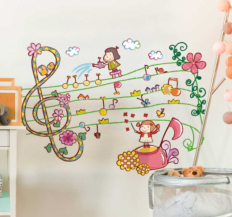 TenStickers. Musical and Floral Kids Sticker. Children's wall stickers - The treble clef wall sticker creates a magical atmosphere in your child´s bedroom. The kids bedroom sticker contains other children watering the flowers on the musical notes!