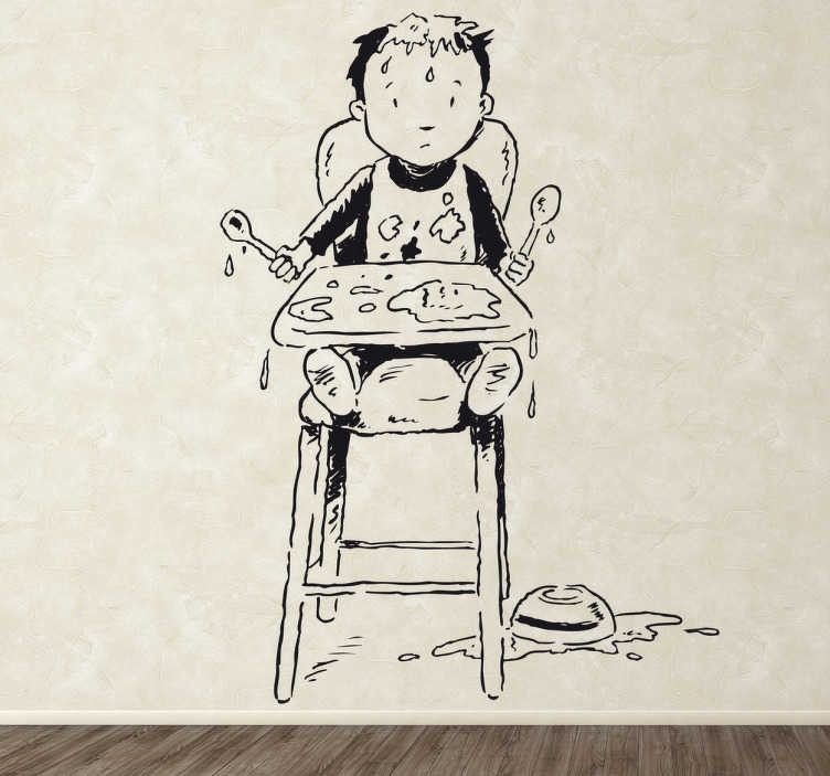 TenStickers. Wandtattoo Baby im Kindersitz. Dekorieren Sie das Babyzimmer mit diesem niedlichen Wandtattoo eines kleinen Jungen, der im Kindersitz ein Riesen Disaster aus seinem Essen macht.