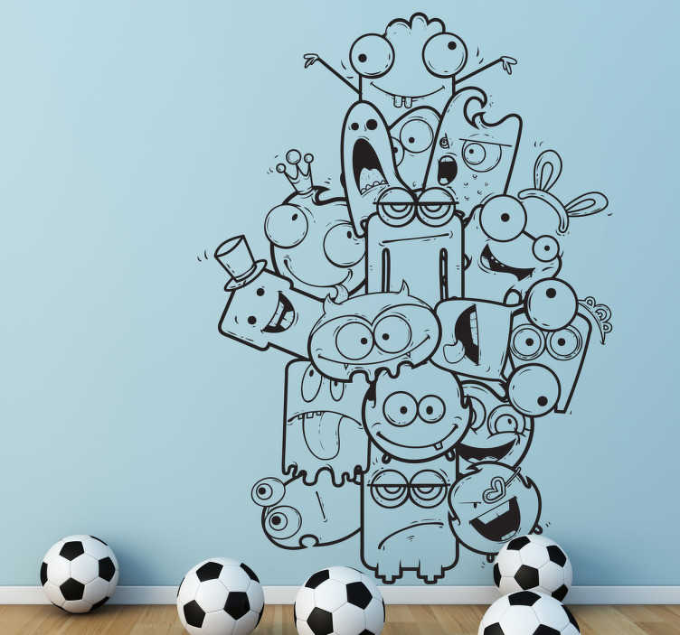 TenStickers. Scary Monsters Kids Sticker. A monster wall sticker illustrating a pile of different creatures! Great kids decal to decorate their playroom. You can now personalise your child's room with this monochrome design that is available in a wide range of colours.