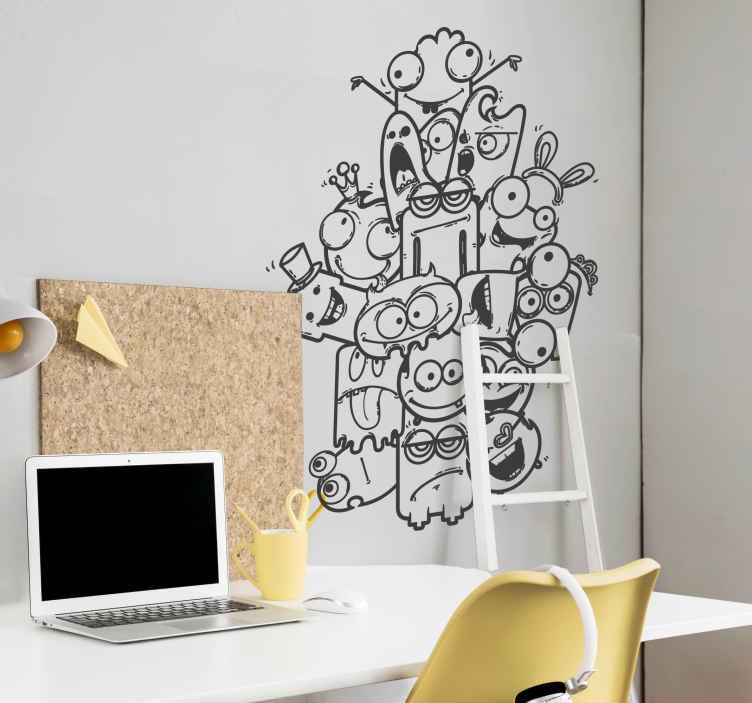TenStickers. Sticker kinderen akelige monsters. Een leuke muursticker van een hoop akelige wezens. Een mooie wandsticker voor de speelkamer van uw kinderen!