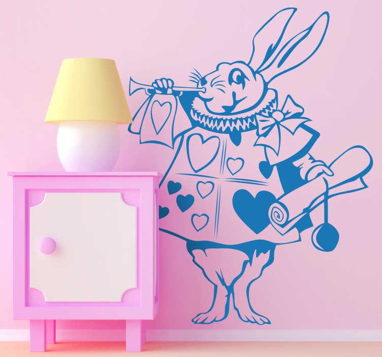 TenVinilo. Vinilo infantil conejo Alicia. Ilustración clásica en adhesivo del roedor con prisas de la malvada reina de Alicia en el País de las Maravillas.