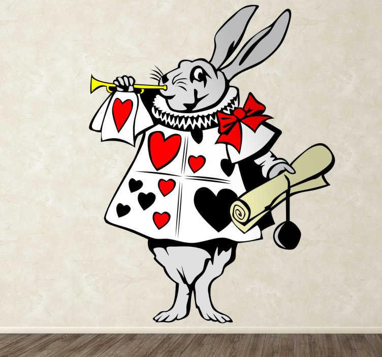 TenVinilo. Vinilo infantil conejo corneta Alicia. Dibujo adhesivo del famoso conejo del cuento de Lewis Carroll anunciando la entrada de la reinad de corazones.