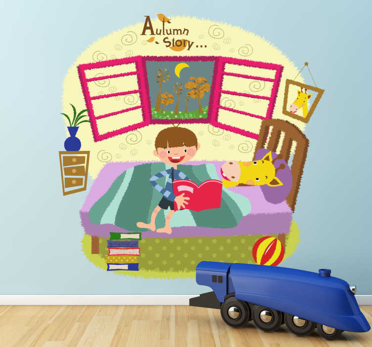 TenStickers. Kids Bedtime Story Wall Mural. Kids Wall Stickers - Original illustration drawing of a young boy sitting on a bed telling a story to his pet giraffe. Playful design for children.