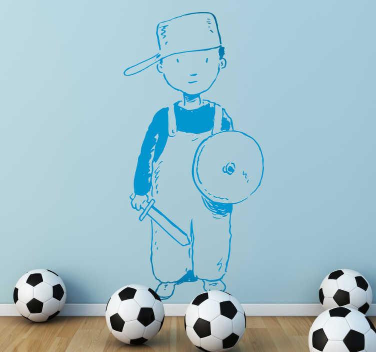 TenVinilo. Vinilo infantil disfraz caballero. Adhesivo de un niño disfrazado de luchador de manera casera con casco, escudo y espada.